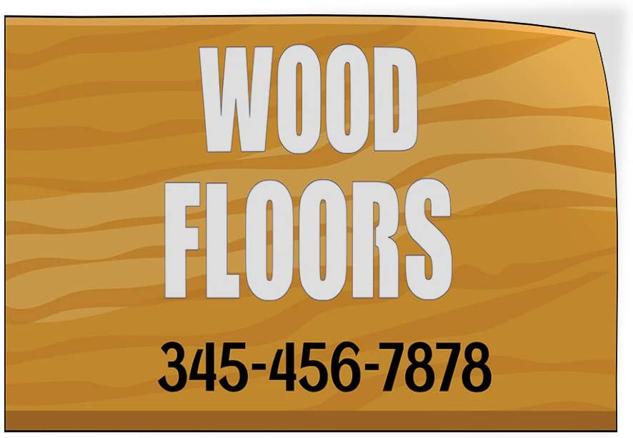 Custom Door Decals Vinyl Stickers Multiple Sizes Wood Floors Phone Number Business Wood Floor Signs Outdoor Luggage /& Bumper Stickers for Cars Brown 72X48Inches Set of 2