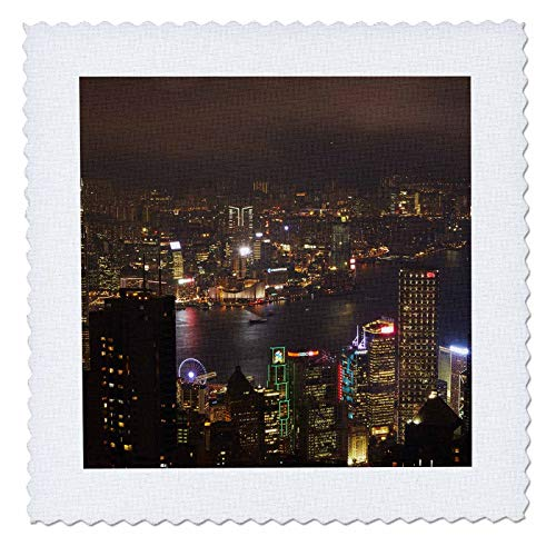 3dRose Danita Delimont - Hong Kong - Kowloon, Victoria Harbor, Central, from Victoria Peak, Hong Kong - 14x14 inch quilt square (qs_312604_5)
