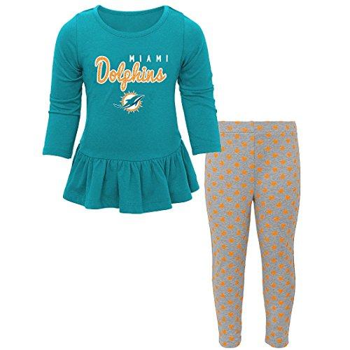 NFL Miami Dolphins Girls Cheer Jumper Dress with Turtleneck Set, 2T, Aqua ()