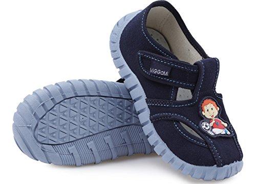 Jungen Kinderhausschuhe Viggami, grau, türkis, grau/Buchstaben und dunkelblau, Gr. 23 bis 30 (14 bis 18,7 cm) Dunkelblau/Boy