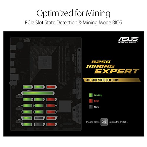 ASUS LGA1151 DDR4 HDMI B250 ATX Motherboard for Cryptocurrency Mining with 19 PCIe Slots and USB 3.1 Gen1 (B250 MINING EXPERT) Photo #3