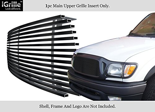 APS Compatible with 2001-2004 Toyota Tacoma Center Section Black Stainless Steel Billet Grille T85365J
