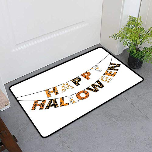 TableCovers&Home Absorbs Mud Doormat, Halloween Indoor Doormats for Bedroom, Happy Halloween Banner Greetings Pumpkins Skull Cross Bones Bats Pennant (Orange Black White, H20 x W32)