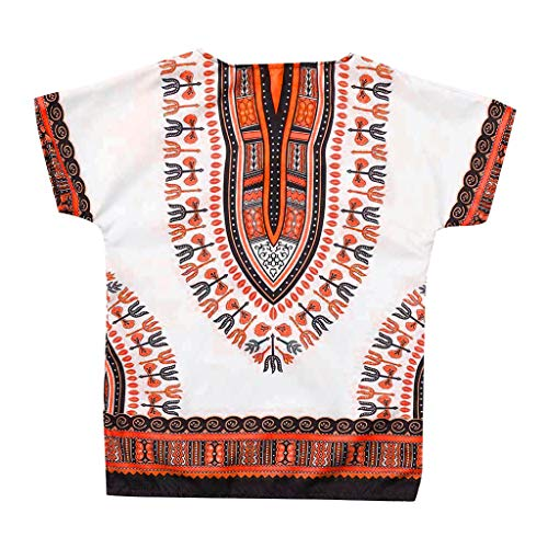 NUWFOR Boy Girl Kids Baby Unisex Bright African Colour Print Summer Tops Child Dashiki T Shirt Tee Tops(Orange,6-7 Years)