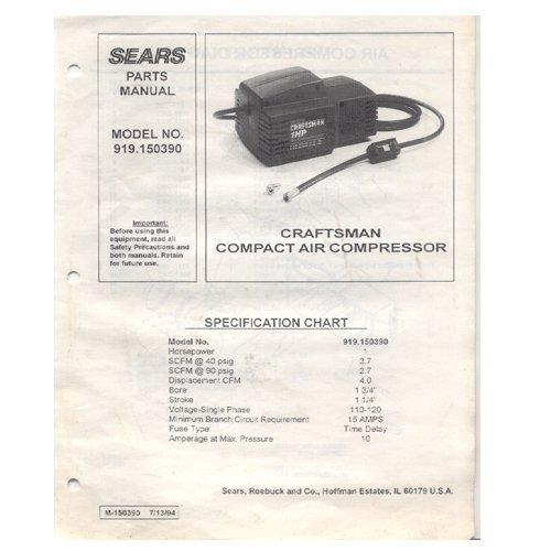 Original 1994 Sears Craftsman Compact Air Compressor Model No. 919.150390 Parts Manual Form M-150390