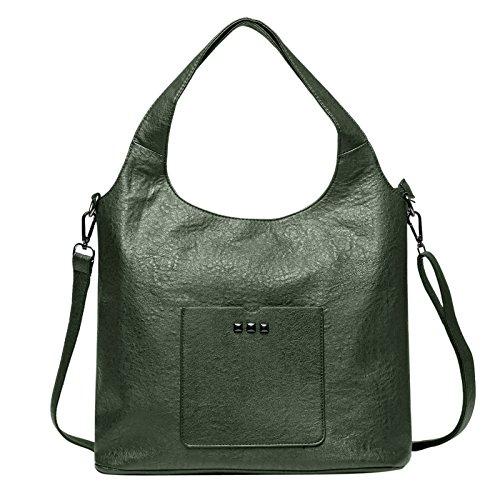 Zahara Lady Handbags PU Leather Large Designer Hobo Tote Bags Shoulder Satchel Messenger Purse for Women Girls Green