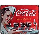 Targa in metalo 30 x 40 cm - Coca-Cola - Waitress