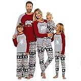 SESY Family Christmas Pajamas Mama/Little/Papa Bear Top & Fair Isle Bottoms,Grey Bear Womens,Medium