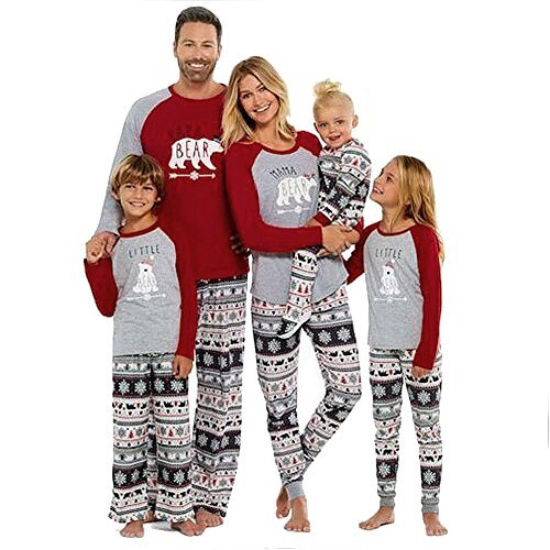 SESY Family Christmas Pajamas Mama Little Papa Bear Top   Fair Isle Bottoms 435d2cd89