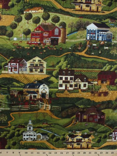 Cotton Country Town Scenes Buildings Church Cafe General Store Apple Orchard Post Office Barns Fields Sheep Folk Art Rural Farms Yesteryear Cotton Fabric Print by The Yard (apn-12139-276-country)