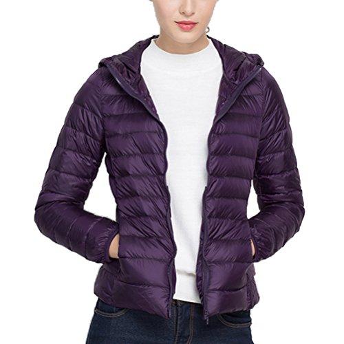 Coat Ultra Winter Down Fashion Zhhlaixing Slim Dark Jacket Lady's Purple Hood Light With Casual mujer's qxzFSFaw4
