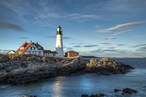 Cape Elizabeth Lighthouse (Portland Head Lighthouse Cape Elizabeth Maine Photo Art Print Poster 36x24 inch)