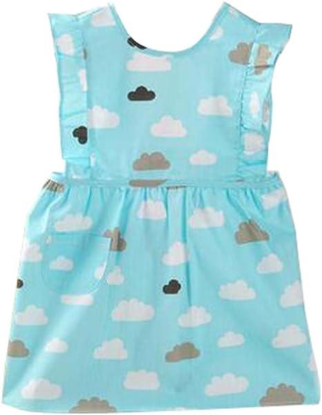 Precioso bebé delantales impermeables Vestidos Pintura algodón ropa azul: Amazon.es: Bebé
