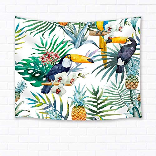 - Tropical Wall Art Home Decor Toucan Birds on Pineapple and Leaves Tapestry Wall Hanging for Bedroom Living Room Dorm Green Yellow