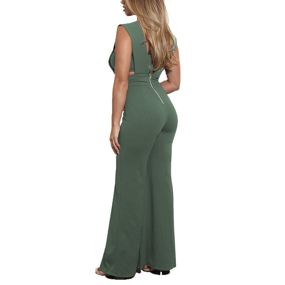 f7d8cec44c8c Amazon.com  Aro Lora Women s Sexy Outfit Sleeveless Strapless Crop Top +  Slit Long Wide Leg Pant Jumpsuit Romper  Clothing