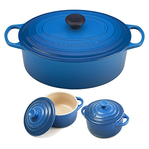 - Le Creuset Signature Marseille Blue Enameled Cast Iron 6.75 Quart Oval French Oven with 2 Free Stoneware Cocottes