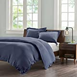 Ink+Ivy Jersey Duvet Cover King Size - Navy, Solid Color Duvet Cover Set – 3 Piece – 100% Cotton Light Weight Bed Comforter Covers