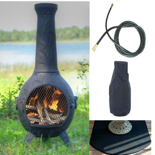 Chiminea Spark Arrestor : Qbc bundled blue rooster orchid chiminea with natural gas