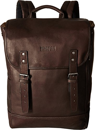 "Kenneth Cole Reaction Colombian Leather Single Compartment Flapover 14.1"" Laptop Backpack (RFID), Brown"