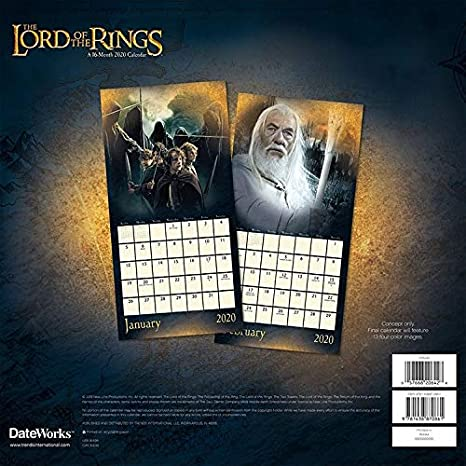 The Lord Of The Rings Calendar 2020 Set Deluxe 2020 The Lord Of The Rings Wall Calendar With Over 100 Calendar Stickers Lotr Gifts Office Supplies Amazon Co Uk Office Products