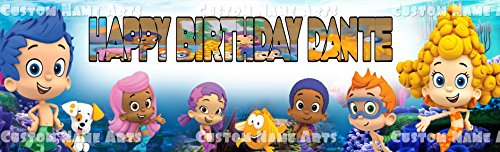Personalized Bubble Guppies Banner Birthday Poster Custom Name Painting Wall Art]()