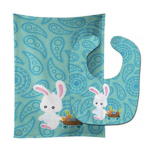 - Caroline's Treasures Easter Baby Bib & Burp Cloth, Rabbit Paisley Blue, Large