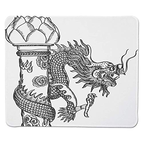 Yanteng Gaming Mouse Pad Dragon,Chinese Style Sacred Creature Statue Sketch Medieval Monster Fantasy Tattoo Image Decorative,Black White Stitched Edge