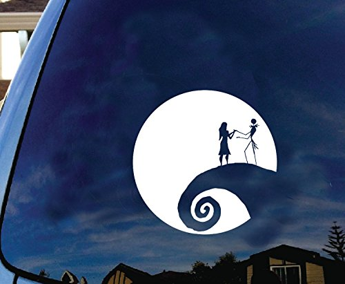 Jack and Sally Nightmare Before Christmas Moon Car Truck Laptop Window Halloween Decal Sticker 5.5 Inches White]()