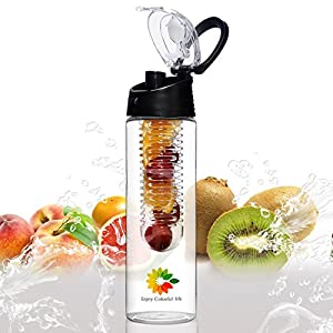 23 Oz Sport Water Bottle With Fruit Infuser And Carrying Handle,With Locking Flip Top Lid And Carrying Handle - BPA FREE - Made With Tritan Copolyester-- (Many Color Option) (Black)
