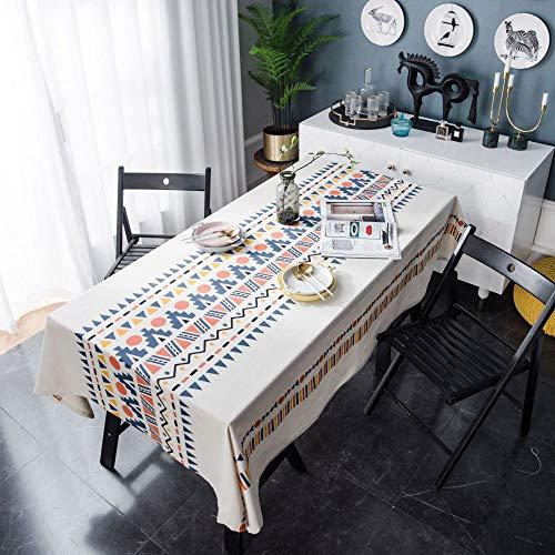 LMDY Decoracion del hogar Mantel geometrico Multicolor Sala de Estar Bohemia Pano de Mesa de Comedor Mantel de Lino de algodon Color 140 * 260CM