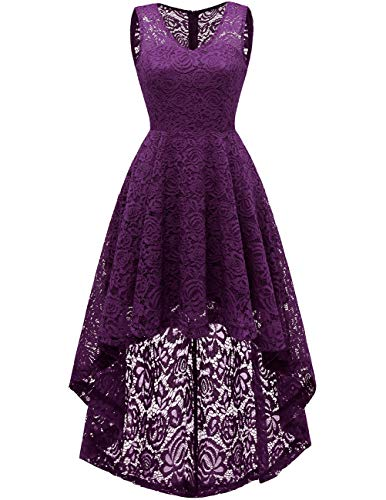 (DRESSTELLS Women's Wedding Dress V-Neck Floral Lace Hi-Lo Bridesmaid Dress Grape)