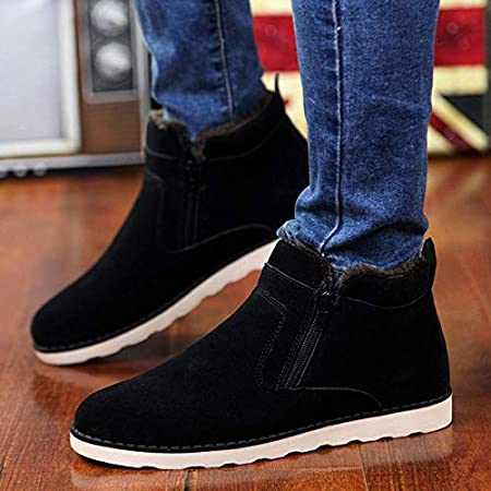 Amazon.com: LoLa Ling Winter Warm Snow Boots Men Shoes Fashion Casual Zip Ankle Boots for Men Footwear Round Toe with Faux Fur Male Work Shoes Botas Hombre: ...