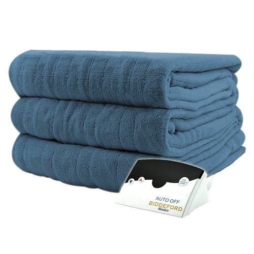 Pure Warmth MicroPlush Electric Heated Blanket Full Denim