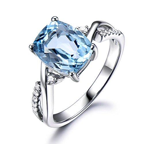 Aquamarine Engagement Ring 925 Sterling Silver CZ Diamond White Gold 8x11mm Cushion Cut Split Shank Band by Milejewel Aquamarine engagement rings