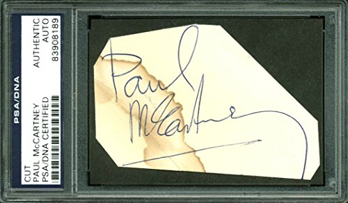 Paul McCartney The Beatles Authentic Signed 2.25×3.5 Cut Signature PSA Slabbed