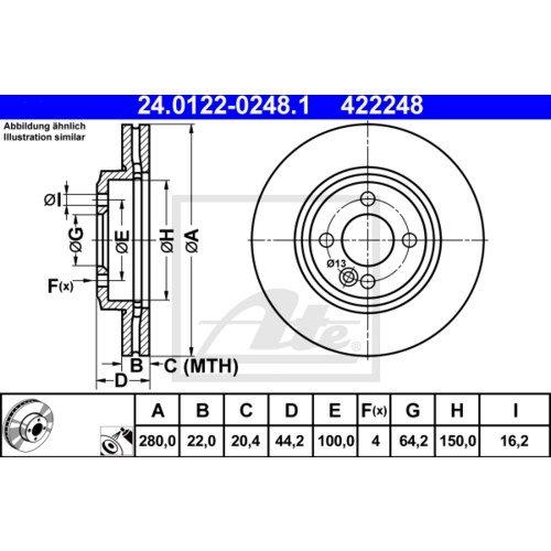 BREMSBEL/ÄGE SET VORNE MINI Cooper CLUBMAN One D 2x ATE BREMSSCHEIBEN /Ø280 mm