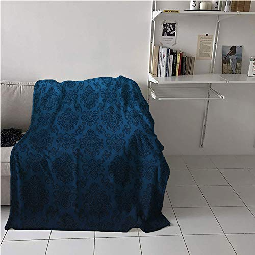 - Suchashome Royal Blue Stroller Blanket,Gothic Damask Nostalgic Feminine Rococo Renaissance Stylish Effects Pattern,Lightweight Thermal Blankets,All Season Blanket 57