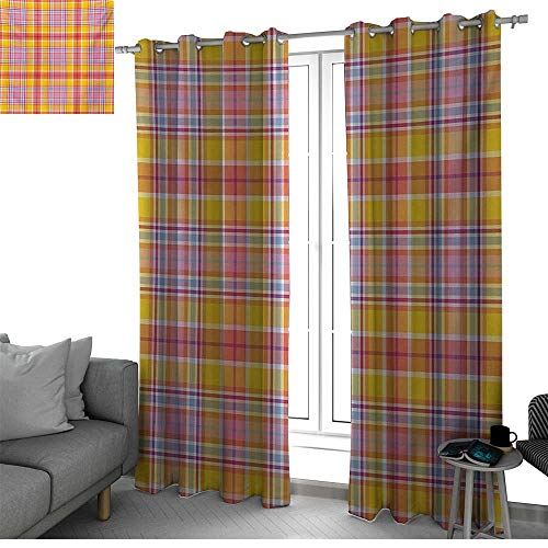 Madras Pink Panel - Benmo House Abstract Thermal Insulated Blackout Patio Door Curtain Panel Madras Style Tartan Motif with Vivid Tone Bands Celtic Old Design Light Curtain Marigold Pink Earth Yellow W120 x L84 Inch