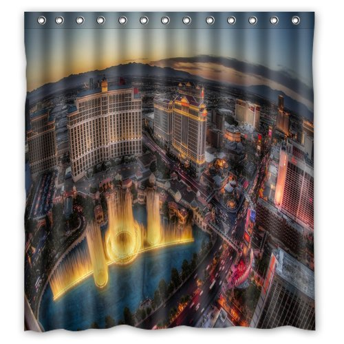 Creative Fashion Las Vegas Shower Curtain Custom Popular Bathroom Rings Included 100 WaterProof