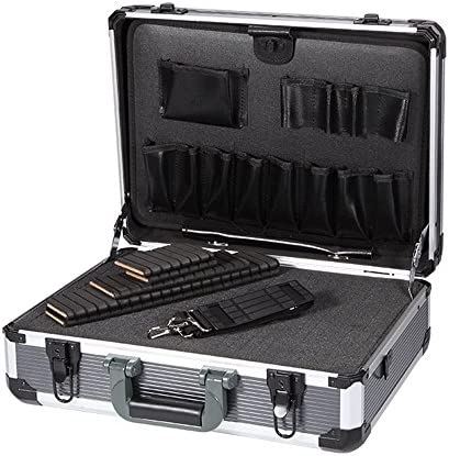 Aluminum Hard Tool Box Case Portable Carrying Case Briefcase Flight Cases Tool Case Organizer Toolbox Storage Box,Large Aluminum Frame and Stronger Corners, Extra Padding Foam