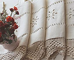 ZHH Handmade Hollow Flower Cafe Curtain Linen and Cotton Crochet Lace Window Patchwork Valance 17 by 59-Inch, Beige