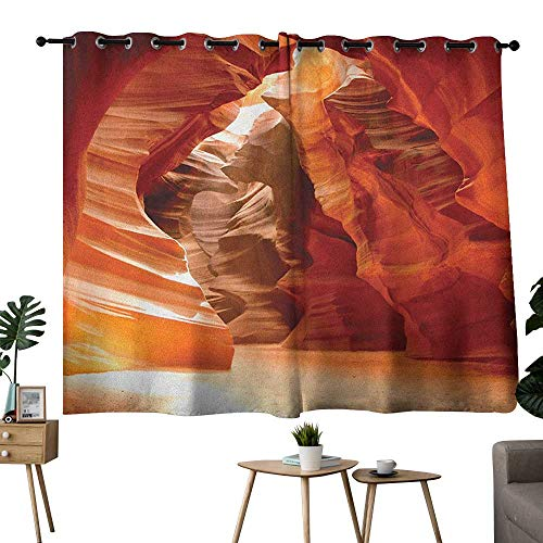 bybyhome Americana Grommets Insulating Darkening Curtains Grand Canyon Cave in Colorado Majestic USA Natural Landscape Picture Print Curtain Door Panel Red Orange Brown W72 x L45 ()