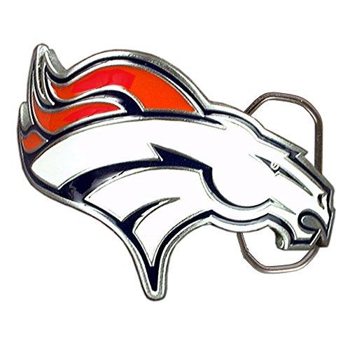 (NFL Denver Broncos Belt Buckle, Silver)