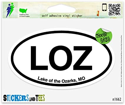 "LOZ Lake of the Ozarks MO Oval car window bumper sticker decal 5/"" x 3/"""