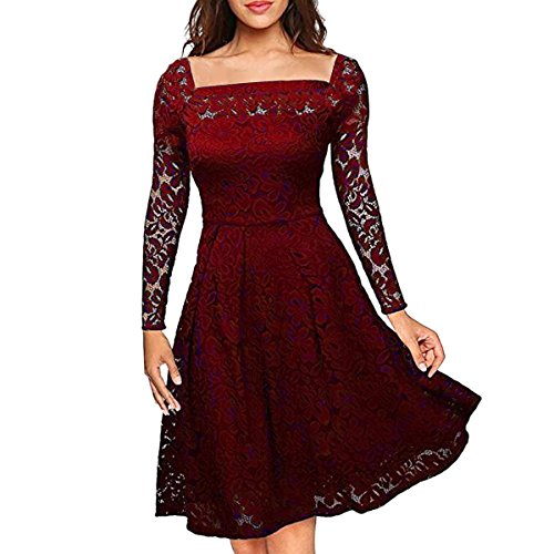 3900200a31f1 Auxo Women Lace Dress Vintage Floral Lace Long Sleeve Semi Formal ...