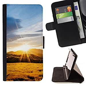 For Samsung Galaxy Note 3 III - Nature Mountain Sunset /Funda de piel cubierta de la carpeta Foilo con cierre magn???¡¯????tico/ - Super Marley Shop -