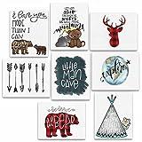 8 Piece Woodland Animal Adventure Nursery Prints - 8x10 Explore, Teepee, Little Man Cave, Bear, Buffalo Plaid Deer, Arrows, Let Him Sleep, Be Brave