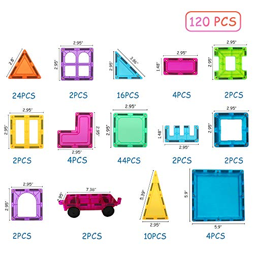 BMAG 120 PCS Magnetic Building Blocks, 3D Magnet Building Tiles, STEM Construction Building Set, Stacking Toys with 2 Car