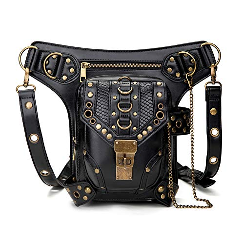 Steampunk Waist bag Fanny Pack Retro Fashion Gothic Casual Leather Shoulder Crossbody Messenger Bags Punk Rock Thigh Leg Hip Holster Purse Pouch Travel Hiking Sport Chain Bags for Women Men]()