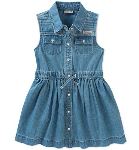 Calvin Klein Baby Girls Dress, Medium Wash Denim, 12M]()